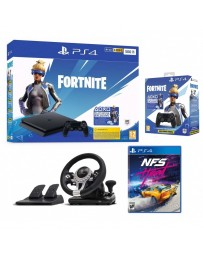 CONSOLE PLAYSTATION 4 SLIM / 500 GO + VOUCHER FORTNITE + NFS HEAT + MANETTE + VOLANT