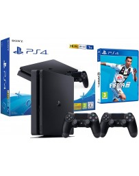 PLAYSTATION PS4 SONY SLIM 1T + 2 MANETTES + JEUX FIFA 2019