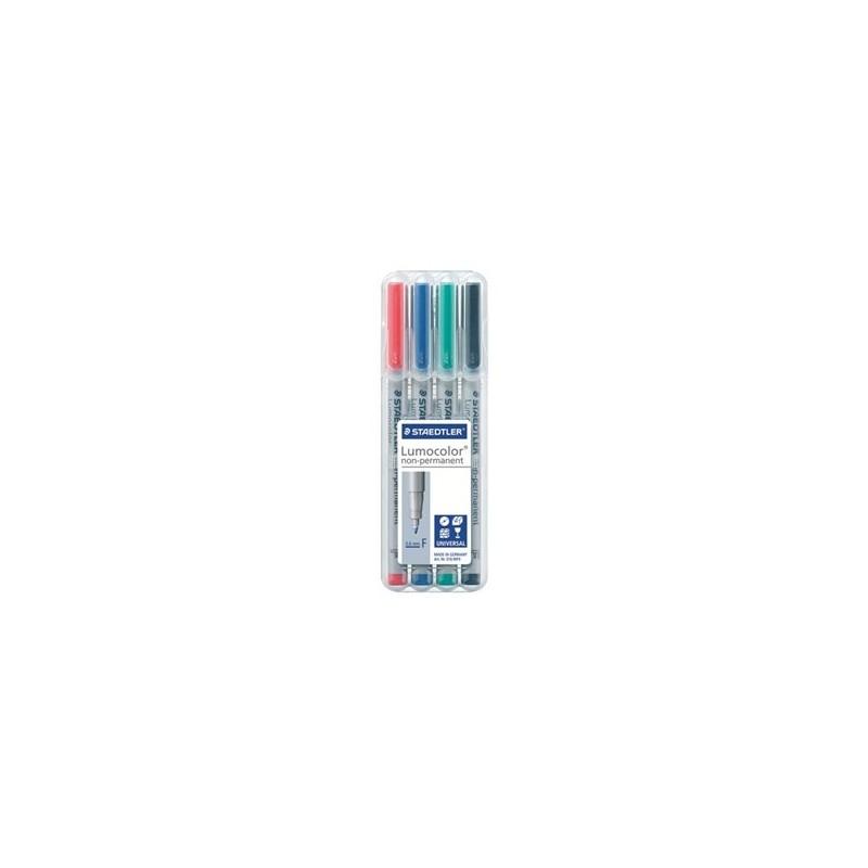 Stylo feutre Staedtler effaçable Lumocolor écriture fine - Pochette de 4 couleurs classiques