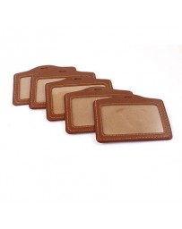 badge en cuir marron + clips 50pcs