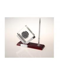 Porte stylo luxe avec montre cube cristal