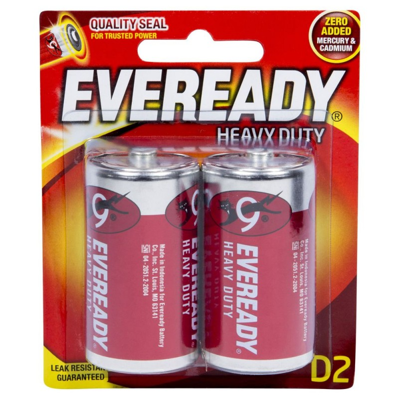 Piles Eveready Heavy Duty Batteries D2 2 Pack