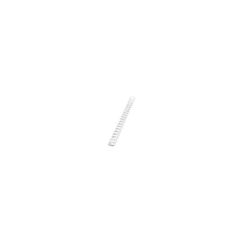 50 RELIURES SPIRALE PLASTIQUE 25MM Blanc