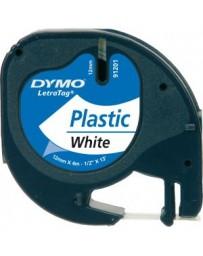 Ruban D'étiquettes DYMO Plastique 91201Blanc 12 Mm X 4 M