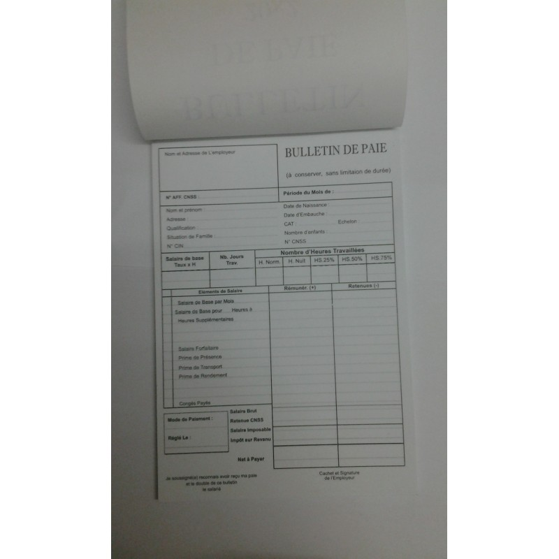 CARNET BULLETIN DE PAIE 20*2F (14*21) RIBAT