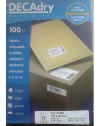 ETIQUETTE SINEL DECADRY A4/12 Réf 21900 105X48