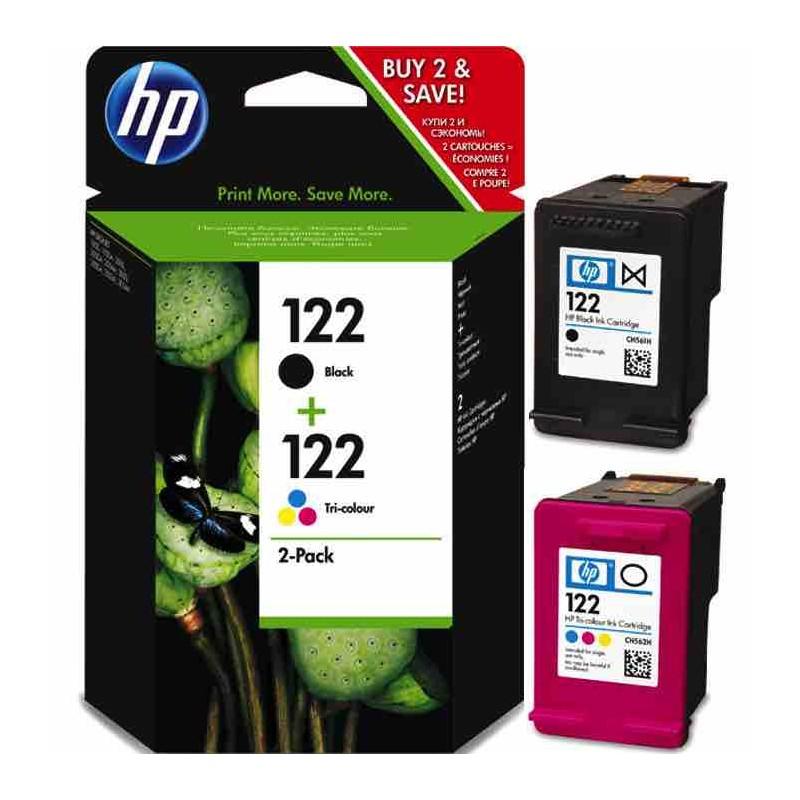 LOT DE 2 CARTOUCHES AUTHENTIQUES D'ENCRE NOIRE/TROIS COULEURS HP 122