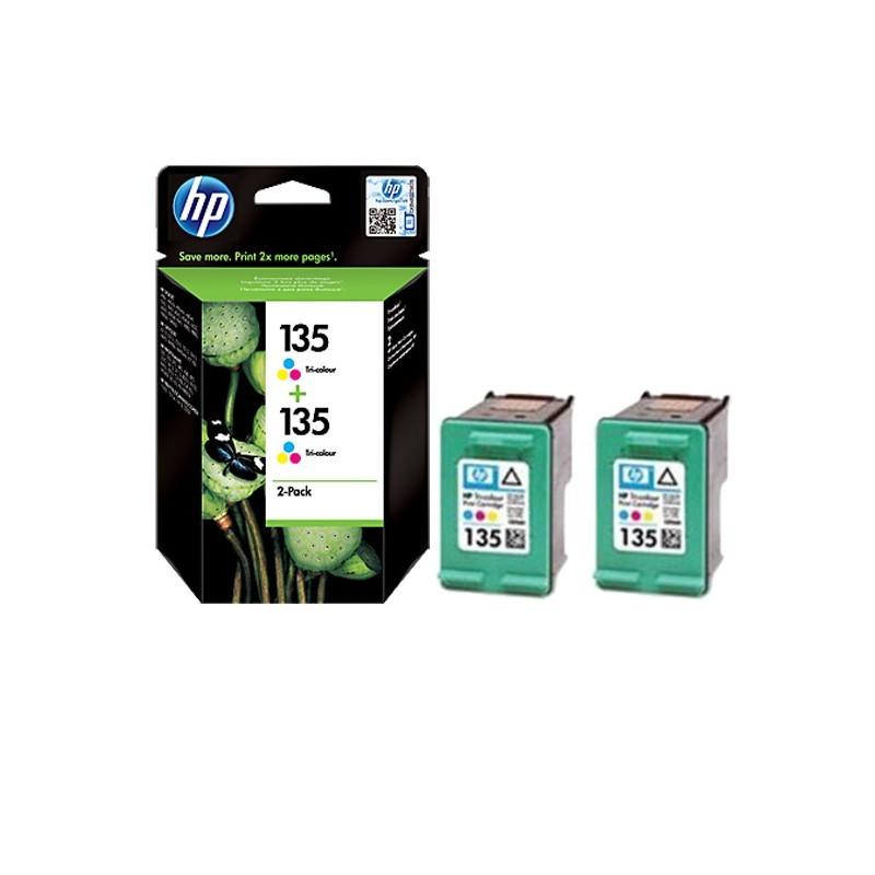 Pack de 2 Cartouches d'Encre HP 135 Couleur