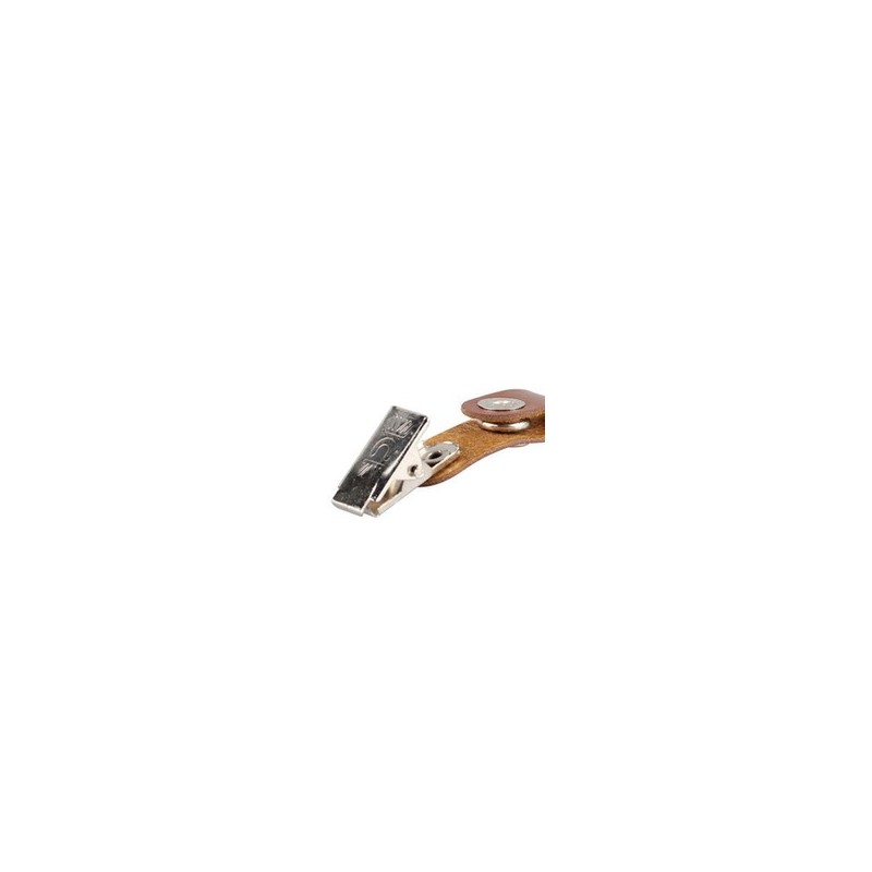 badge en cuir marron + clips 50pcs