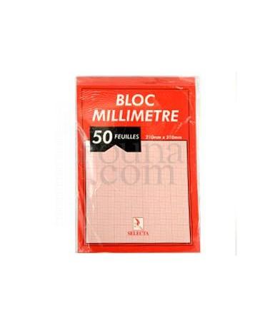 BLOC MILLIMETRE A4 DE 50F SELECTA